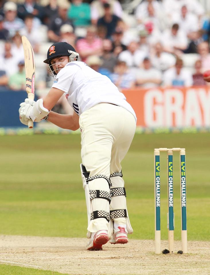 Essex's James Mickleburgh bats during day two of the International Warm up match at The County Ground, Chelmsford.