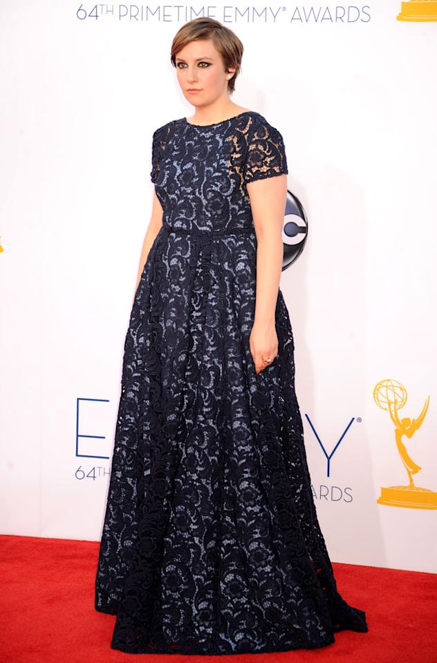 Lena Dunham arrives at the 64th Primetime Emmy Awards at the Nokia Theatre in Los Angeles on September 23, 2012.