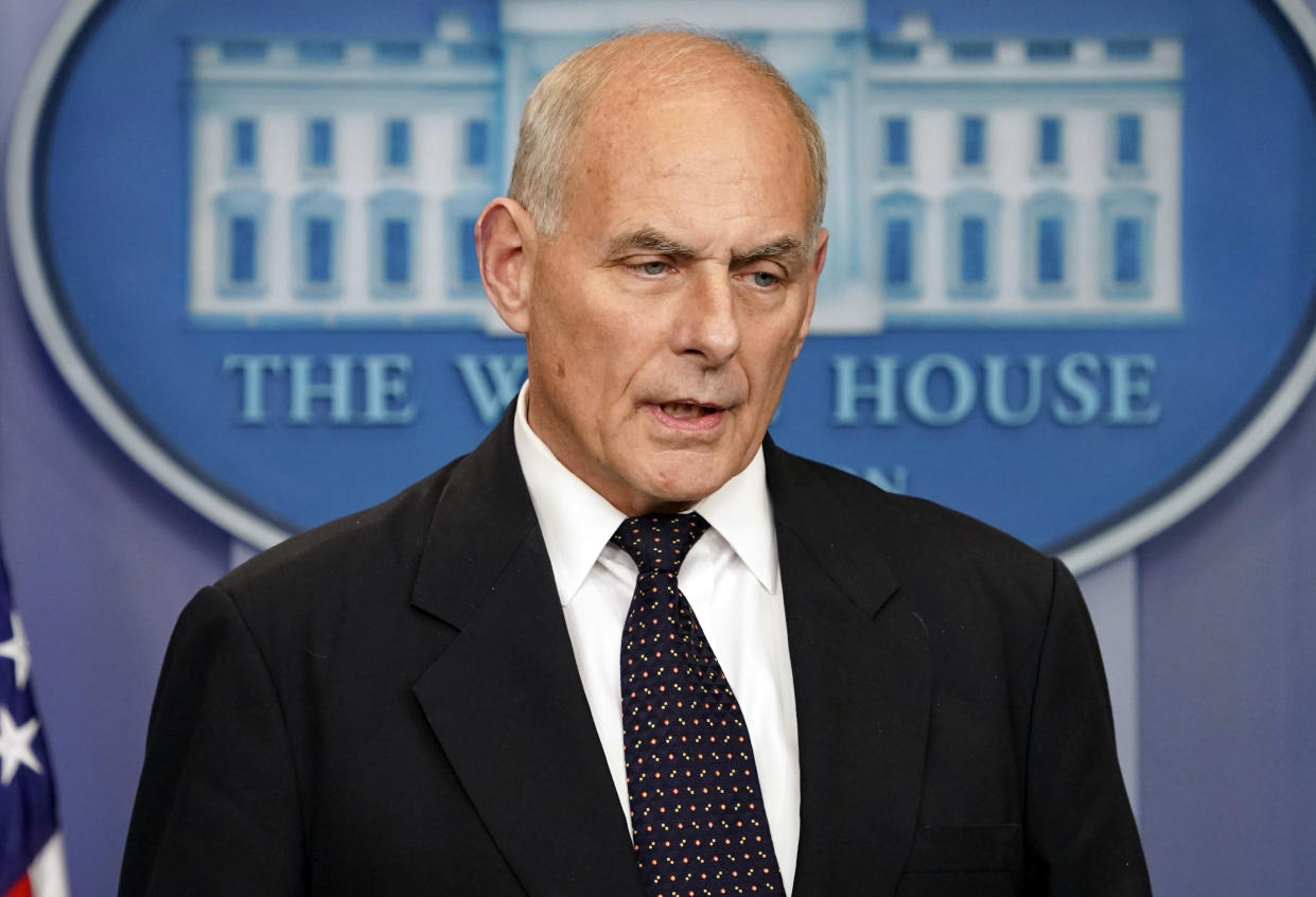 White House Chief of Staff John Kelly speaks to the media during the daily briefing, Oct. 19, 2017. (Photo: Pablo Martinez Monsivais/AP)