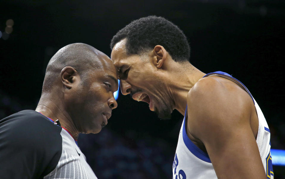 Referee Courtney Kirkland and Warriors guard Shaun Livingston butted heads earlier this season. (AP)