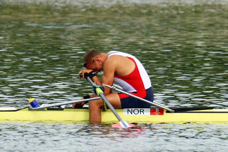 BEIJING - AUGUST 16: Olaf Tufte of Norway celebrates winning the gold medal in the Men's Single Sculls Final at the Shunyi Olympic Rowing-Canoeing Park on Day 8 of the Beijing 2008 Olympic Games on August 16, 2008 in Beijing, China. (Photo by Vladimir Rys/Bongarts/Getty Images)