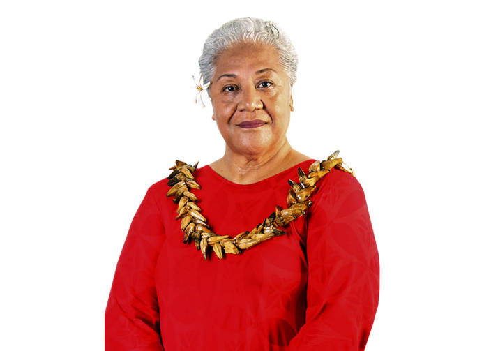 In this undated photo from the FAST Party, Fiame Naomi Mata'afa poses for a portrait in Samoa. Samoa appears set to get its first female leader after the nation's top court on Monday, May 17, 2021, reinstated the results of a knife-edge election last month. Two decisions by the Supreme Court have paved the way for Fiame Naomi Mata'afa to become prime minister of the small island nation. (FAST party via AP)