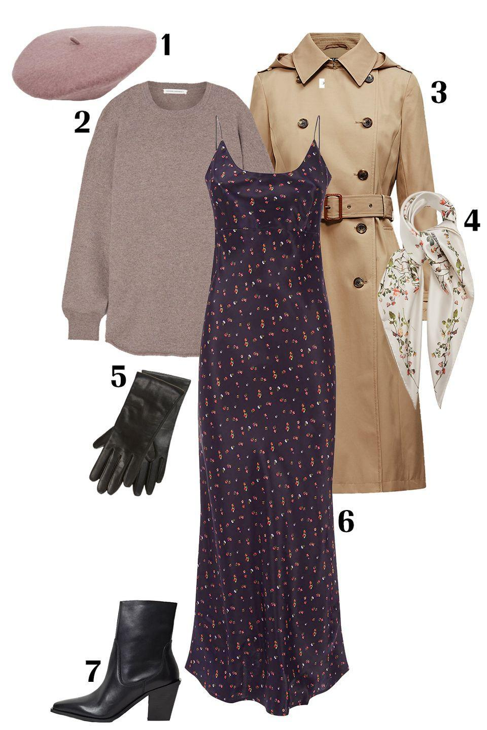 """<p>Layer a slinky <a href=""""https://www.marieclaire.com/fashion/g32225268/best-slip-dresses/"""" rel=""""nofollow noopener"""" target=""""_blank"""" data-ylk=""""slk:slip dress"""" class=""""link rapid-noclick-resp"""">slip dress</a> under a cashmere sweater with black boots and a <a href=""""https://www.marieclaire.com/fashion/news/g4526/best-trench-coats/"""" rel=""""nofollow noopener"""" target=""""_blank"""" data-ylk=""""slk:classic trench"""" class=""""link rapid-noclick-resp"""">classic trench</a>. Instead of adding jewelry to this look, opt for a silk scarf tied around your neck, and in lieu of a knit beanie choose a muted pink beret. These small substitutions will elevate your outfit to that effortlessly chic French-girl aesthetic we all love. </p><p>Shop the pieces:<em> <strong>1.</strong> </em><em><a href=""""https://www.asos.com/us/asos-design/asos-design-wool-beret-in-mauve/prd/20357604?"""" rel=""""nofollow noopener"""" target=""""_blank"""" data-ylk=""""slk:ASOS Design Beret"""" class=""""link rapid-noclick-resp"""">ASOS Design Beret</a></em><em>,</em> $16; <strong>2.</strong> <em><a href=""""https://www.net-a-porter.com/en-us/shop/product/extreme-cashmere/n53-crew-hop-cashmere-blend-sweater/1322682"""" rel=""""nofollow noopener"""" target=""""_blank"""" data-ylk=""""slk:Extreme Cashmere Sweater"""" class=""""link rapid-noclick-resp"""">Extreme Cashmere Sweater</a></em>, $520; <strong>3.</strong> <em><a href=""""https://www.ralphlauren.com/women-clothing-coats/cotton-blend-trench-coat/552436.html"""" rel=""""nofollow noopener"""" target=""""_blank"""" data-ylk=""""slk:Lauren Ralph Lauren Trench Coat"""" class=""""link rapid-noclick-resp"""">Lauren Ralph Lauren Trench Coat</a></em>, $140; <strong>4.</strong> <em><a href=""""https://www.matchesfashion.com/us/products/Burberry-Floral-print-silk-twill-scarf-1385951"""" rel=""""nofollow noopener"""" target=""""_blank"""" data-ylk=""""slk:Burberry Silk Twill Scarf"""" class=""""link rapid-noclick-resp"""">Burberry Silk Twill Scarf</a></em>, $485; <strong>5.</strong> <em><a href=""""https://www.nordstrom.com/s/nordstrom-cashmere-lined-leather-touchscreen-gloves/5874865?origin=keywordsea"""