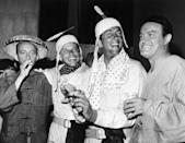 <p>No it's not Halloween! Bing Crosby, Frank Sinatra, Dean Martin and Bob Hope let loose on the set of <em>The Road to Hong Kong</em> in August, 1961.</p>