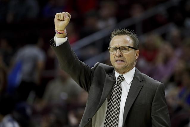 Scott Brooks puts his fist in the air in a land of hypocrisy. (AP)