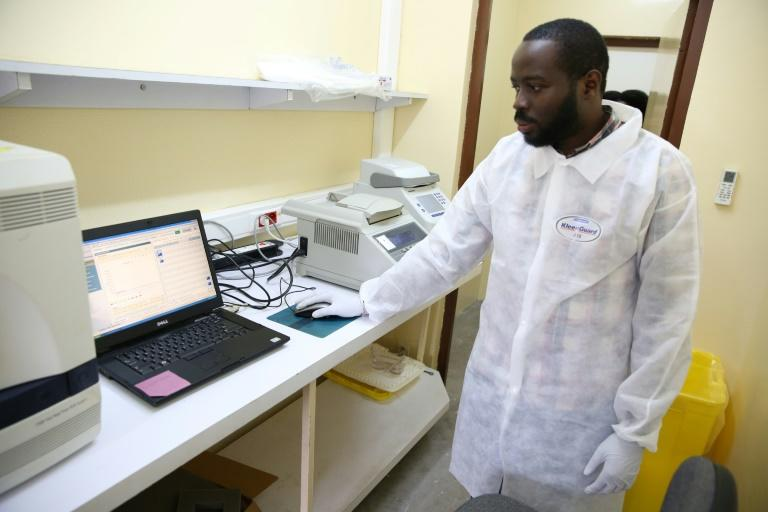 Viral sleuth: doctor Illich Mombo analyses the results of an Ebola test at the Franceville International Centre for Medical Research
