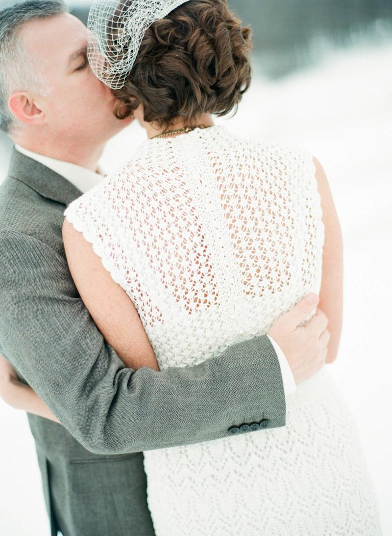 """This was my second marriage. My first husband died, and I knit heavy sweaters throughout his illness. I felt it was fitting for me to knit something light and beautiful for a joyous occasion. It brought a sort of healing for me,"" bride Emily Wharton told HuffPost. ""My husband calls my dress my 'magnum opus.' It truly was the most difficult thing I have ever knit, and I was very careful to ensure that there were absolutely no mistakes in it, which meant I did a lot of ripping out and re-knitting."""