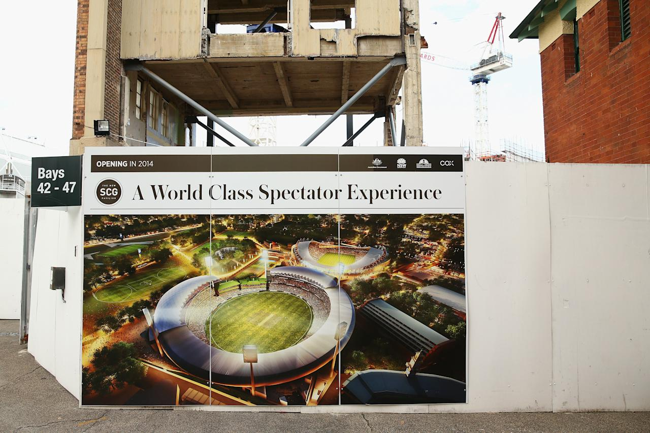 SYDNEY, AUSTRALIA - JULY 30: A graphic showing the new completed stadium is seen at the SCG construction site during the announcement of the NSW venues for the 2015 ICC Cricket World Cup at Sydney Cricket Ground on July 30, 2013 in Sydney, Australia.  (Photo by Cameron Spencer/Getty Images)