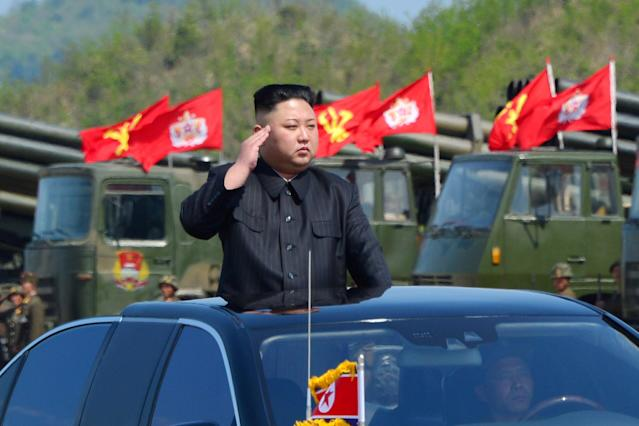 <p>North Korea's leader Kim Jong Un watches a military drill marking the 85th anniversary of the establishment of the Korean People's Army (KPA) in this handout photo by North Korea's Korean Central News Agency (KCNA) made available on April 26, 2017. (Photo: KCNA via Reuters) </p>