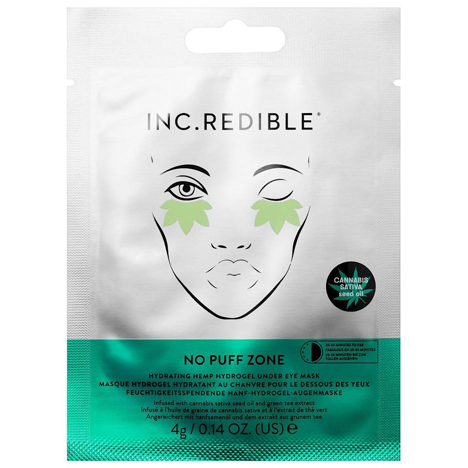 """<p><strong>INC.redible</strong></p><p>sephora.com</p><p><strong>$9.00</strong></p><p><a href=""""https://go.redirectingat.com?id=74968X1596630&url=https%3A%2F%2Fwww.sephora.com%2Fproduct%2Fno-puff-zone-hydrating-hemp-hydrogel-under-eye-mask-P449101&sref=https%3A%2F%2Fwww.goodhousekeeping.com%2Fbeauty%2Fanti-aging%2Fg32633457%2Fbest-undereye-patches%2F"""" rel=""""nofollow noopener"""" target=""""_blank"""" data-ylk=""""slk:Shop Now"""" class=""""link rapid-noclick-resp"""">Shop Now</a></p><p><strong>Infused with cannabis sativa seed oil, </strong>these hydrogels claim to restore, smooth, and brighten the under-eye area. While we haven't tested these claims in the Lab, these leaf-shaped gels are certainly a statement — and super giftable. </p>"""