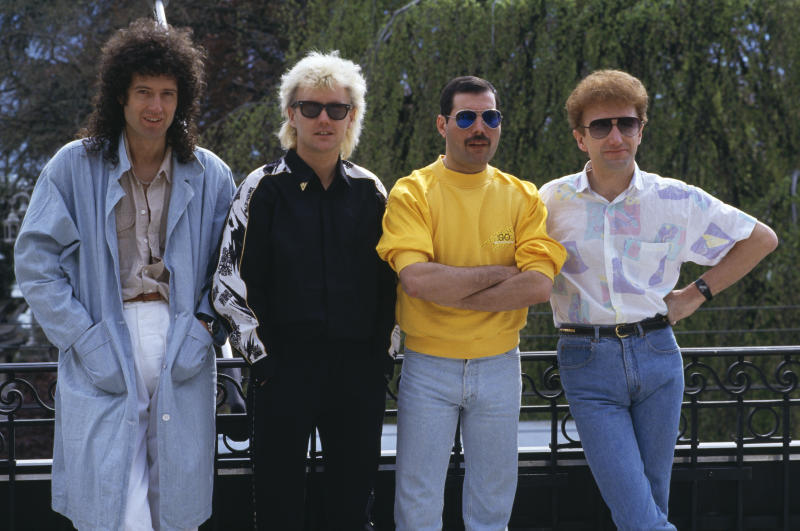 British rock group Queen at the Montreux Rock Festival in Switzerland, May 1986. Left to right: guitarist Brian May, drummer Roger Taylor, singer Freddie Mercury (1946 - 1991) and bassist John Deacon. (Photo by Dave Hogan/Getty Images)