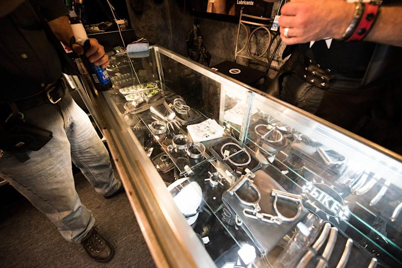 Some of the items that are sold at Spike's Leather Club.  (Photo by Damon Dahlen/HuffPost)