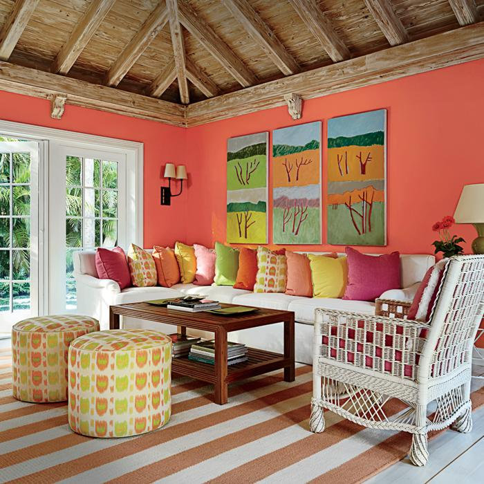 Bright And Colorful Rooms Tropical Style: Tropical-Hued Florida Guesthouse