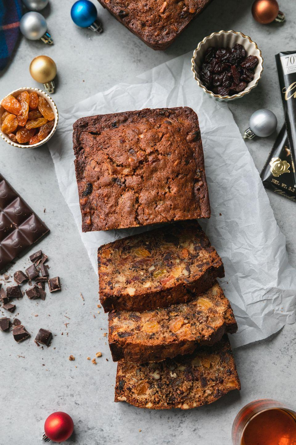 "<p>The addition of rich dark chocolate makes this fruitcake impossible to resist. The entire loaf will be polished off in no time.</p><p><strong>Get the recipe at <a href=""https://www.spicesinmydna.com/dark-chocolate-fruitcake/"" rel=""nofollow noopener"" target=""_blank"" data-ylk=""slk:Spices in My DNA"" class=""link rapid-noclick-resp"">Spices in My DNA</a>.</strong></p><p><strong><a class=""link rapid-noclick-resp"" href=""https://go.redirectingat.com?id=74968X1596630&url=https%3A%2F%2Fwww.walmart.com%2Fip%2FWilton-Bake-It-Better-Non-Stick-Large-Loaf-Pan%2F45848368&sref=https%3A%2F%2Fwww.countryliving.com%2Ffood-drinks%2Fg3610%2Fchristmas-fruitcake-recipes%2F"" rel=""nofollow noopener"" target=""_blank"" data-ylk=""slk:SHOP LOAF PANS"">SHOP LOAF PANS</a><br></strong></p>"