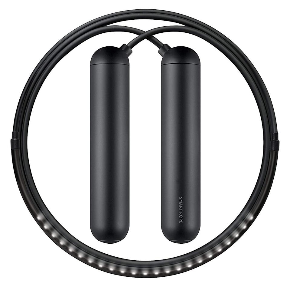<p>Jumping rope just got a lot cooler thanks to the <span>Tangram Smart Rope</span> ($80). The LED feature displays your jump count in mid air, and it can also sync with your smartphone to track calories burned, your jump count, and the duration of your workout.</p>