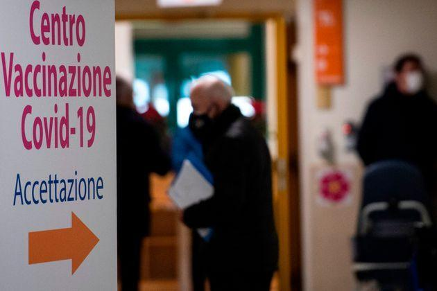 A board is pictured at the admission of the Tor Vergata hospital in Rome on February 8, 2021, during vaccinations for people over 80. - Italy is one of the countries worst affected by the coronavirus pandemic, with over 2.6 million infections and more than 91,000 dead. (Photo by Tiziana FABI / AFP) (Photo by TIZIANA FABI/AFP via Getty Images) (Photo: TIZIANA FABI via Getty Images)