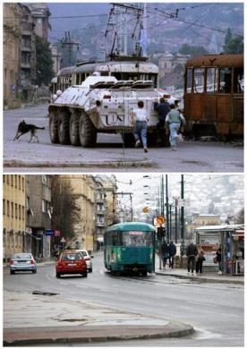 Three boys run behind a Ukrainian United Nations (UN) armored personnel carrier (APC) as it moves past a burnt-out tram in Skenderia square in the besieged Bosnian capital of Sarajevo, in this file picture taken August 10, 1993, and vehicles, including a tram, stop at a traffic light in the same square, April 1, 2012, in this combination picture made April 4, 2012.