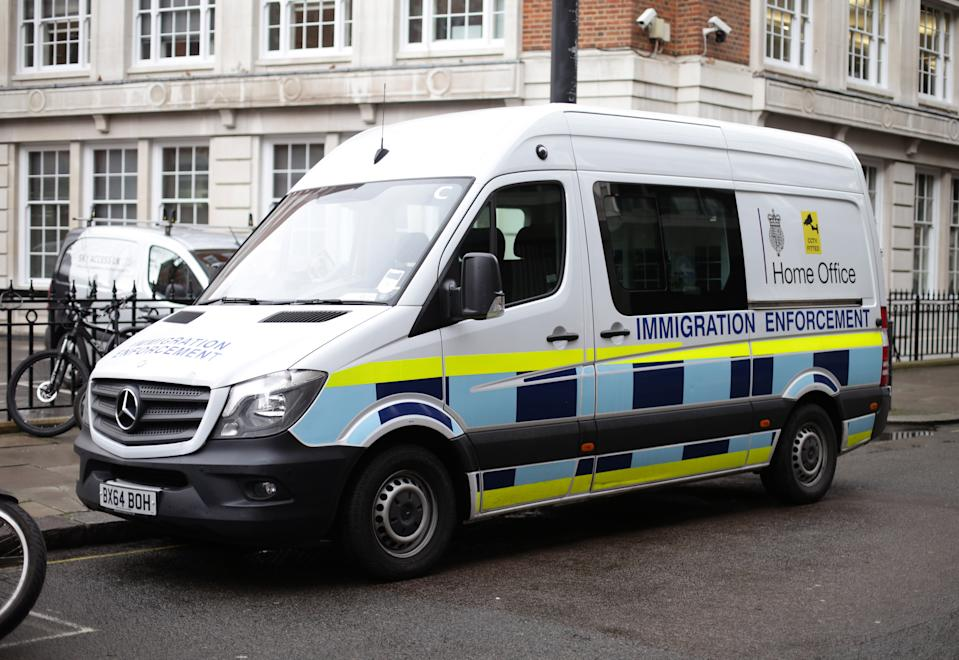 A Home Office immigration enforcement van parked in Westminster, London. (Photo by Yui Mok/PA Images via Getty Images)
