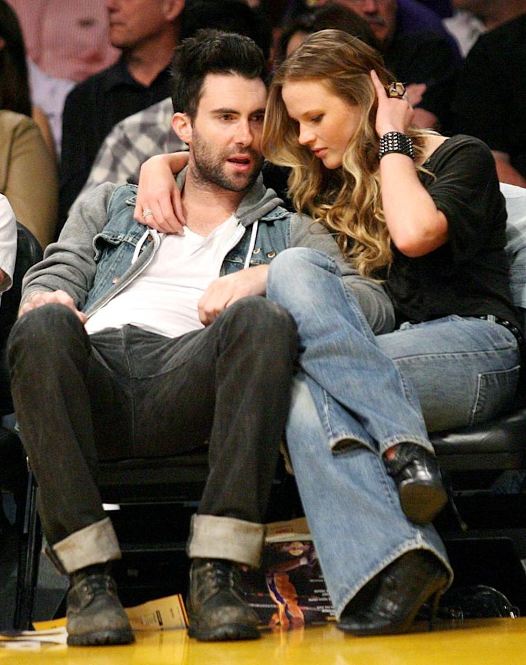 "Maroon 5 frontman Adam Levine was spotted cozying up to his Russian <i>Sports Illustrated</i> swimsuit model girlfriend Anne Vyalitsyna. London Ent/<a href=""http://www.splashnewsonline.com"" target=""new"">Splash News</a> - April 4, 2010"