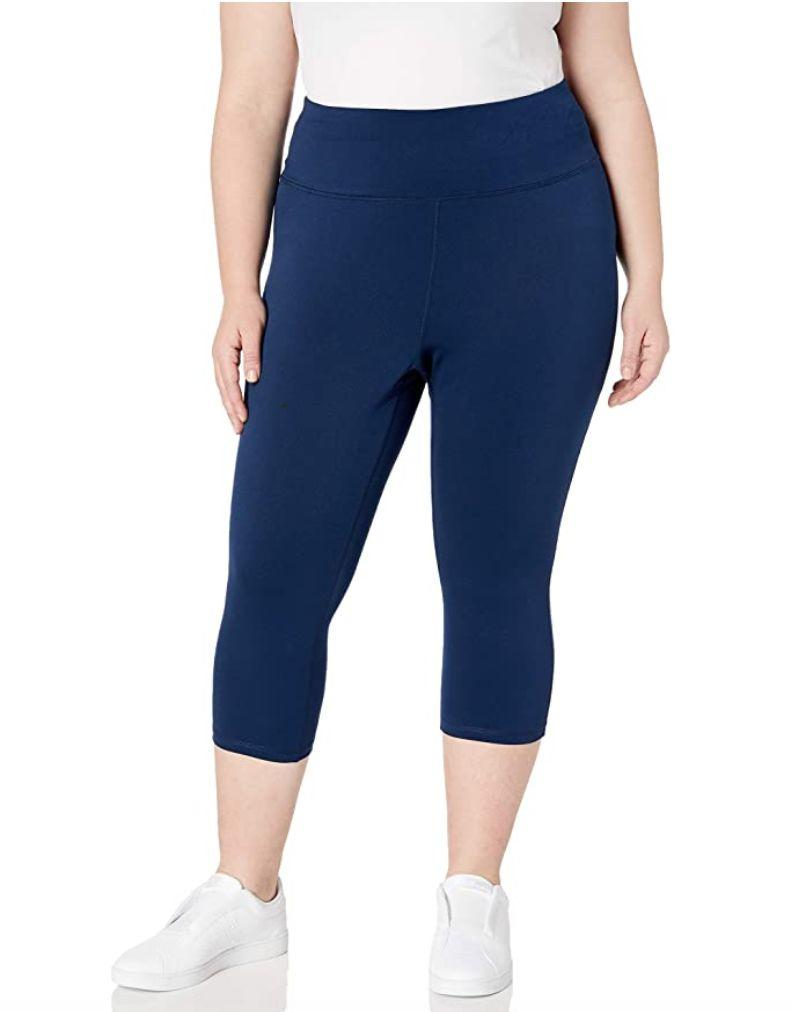 """You can just pull on <a href=""""https://amzn.to/3gS7xgC"""" target=""""_blank"""" rel=""""noopener noreferrer"""">these leggings</a>, which are meant to be comfortable because of the stretchy waistband. These leggings come in navy, black and gray and are made mostly of polyester. It's recommended that you size down for a """"more compressive fit.""""<br /><br /><strong>Sizes:</strong> These leggings come in sizes 1X to 6X.<br /><strong>Rating: </strong>They have a 4.2-star rating over more than 100 reviews.<br /><strong>$$$:</strong> <a href=""""https://amzn.to/3kDjoBt"""" target=""""_blank"""" rel=""""noopener noreferrer"""">Find them for $22 at Amazon</a>."""