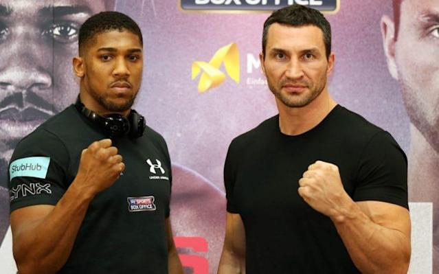 <span>Wladimir Klitschko somehow makes Anthony Joshua look small </span> <span>Credit: BPI REX  </span>