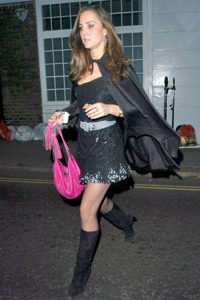 <p>Kate Middleton in a black vampire outfit for a night out in London.</p>