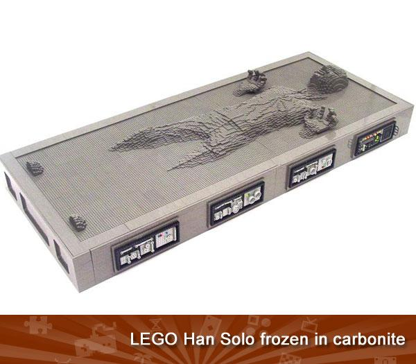 LEGO HAN SOLO FROZEN IN CARBONITE -- Lego Han Solos aren't hard to come by; just a few dollars on eBay will buy you your very own minifigure representation. But<em> this</em> Lego Han Solo is a little more exclusive: it's life size, took three months to build, and contains about 10,000 bricks. Depicting the hero after being frozen in carbonite for delivery to Jabba the Hutt, it's a Star Wars fan's dream come true. Though somehow we think its creator, just like Jabba, isn't going to be too keen to give up <em>his </em>favorite decoration.