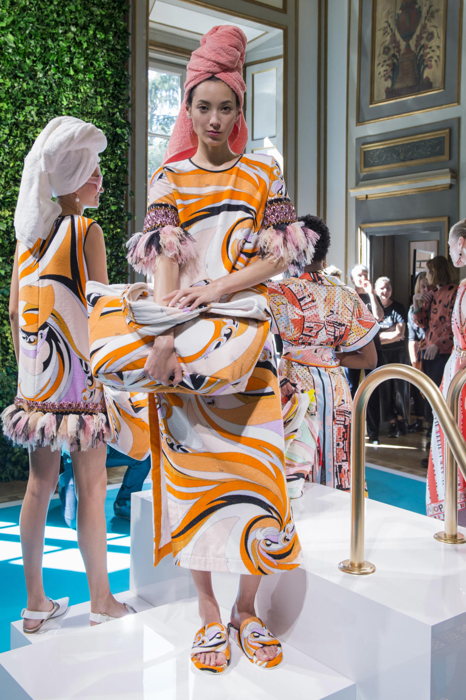 <p><i>Feather and jewel sleeved graphic dress from the SS18 Emilio Pucci collection. (Photo: ImaxTree) </i></p>