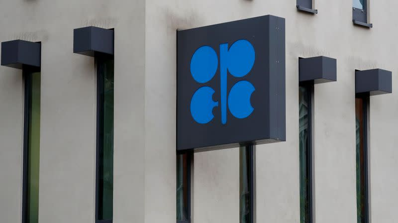 The logo of the Organisation of the Petroleum Exporting Countries (OPEC) sits outside its headquarters in Vienna