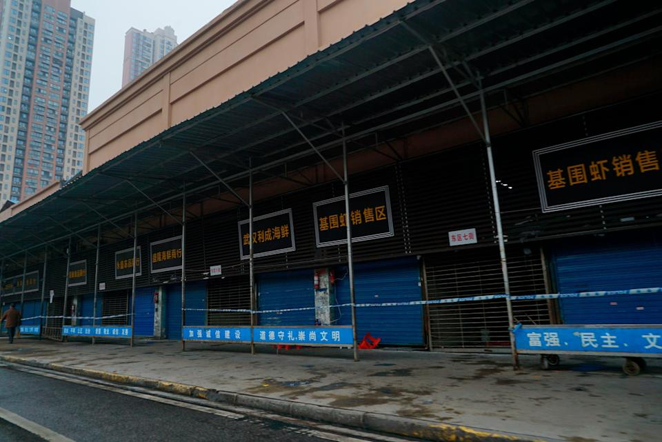 The Huanan Seafood Wholesale Market in Wuhan, China, was closed in January 2020.