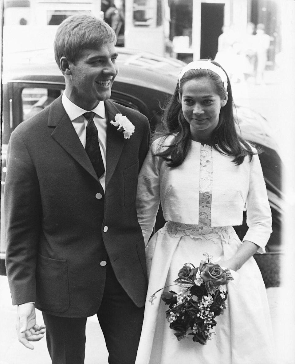 <p>Chinese-American actress Nancy Kwan married Austrian skier Peter Pock at the Paddington Registry Office in London in 1962. The actress wore a shantung silk wedding gown with a lace bodice and matching bolero jacket. They were married for six years and had one son together. </p>
