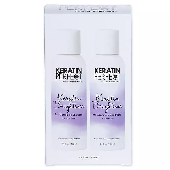 <p>Give your hair a color boost with the strengthening <span>Keratin Perfect Keratin Brightener Shampoo and Conditioner (Set of 2)</span> ($13, originally $15).</p>