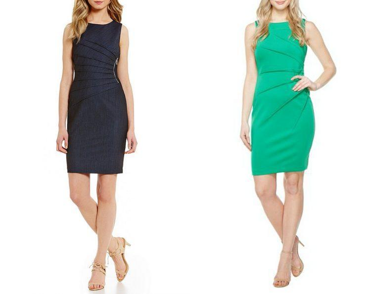 At left, a denim Ivanka Trump brand dress. On the right, a green Calvin Klein dress. Both brands are owned by G-III Apparel. (Photos: Lyst, Dillard's)
