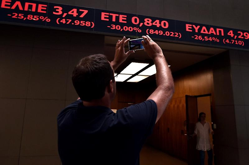 Greek stocks tumbled to close nearly 8% lower