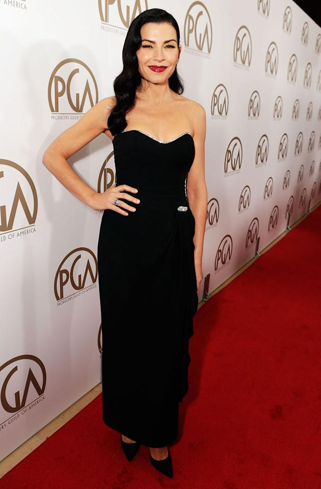 BEVERLY HILLS, CA - JANUARY 26:  Actress Julianna Margulies arrives at the 24th Annual Producers Guild Awards held at The Beverly Hilton Hotel on January 26, 2013 in Beverly Hills, California.  (Photo by Jeff Vespa/WireImage)