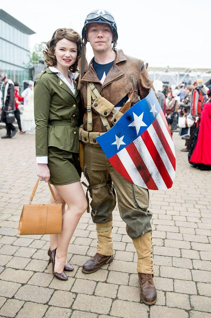"""<p>For a look that's all American, go with Captain America and his sweetheart, Agent Peggy Carter. </p><p><a class=""""link rapid-noclick-resp"""" href=""""https://www.amazon.com/Forum-Novelties-Womens-Costume-Standard/dp/B004Q2RI80?tag=syn-yahoo-20&ascsubtag=%5Bartid%7C10070.g.1923%5Bsrc%7Cyahoo-us"""" rel=""""nofollow noopener"""" target=""""_blank"""" data-ylk=""""slk:SHOP GREEN SKIRT SUIT"""">SHOP GREEN SKIRT SUIT</a></p><p><a class=""""link rapid-noclick-resp"""" href=""""https://www.amazon.com/Captain-America-NUTRIUPS-Superhero-Costumes/dp/B08DF3YTWM?tag=syn-yahoo-20&ascsubtag=%5Bartid%7C10070.g.1923%5Bsrc%7Cyahoo-us"""" rel=""""nofollow noopener"""" target=""""_blank"""" data-ylk=""""slk:SHOP SHIELD"""">SHOP SHIELD</a></p>"""