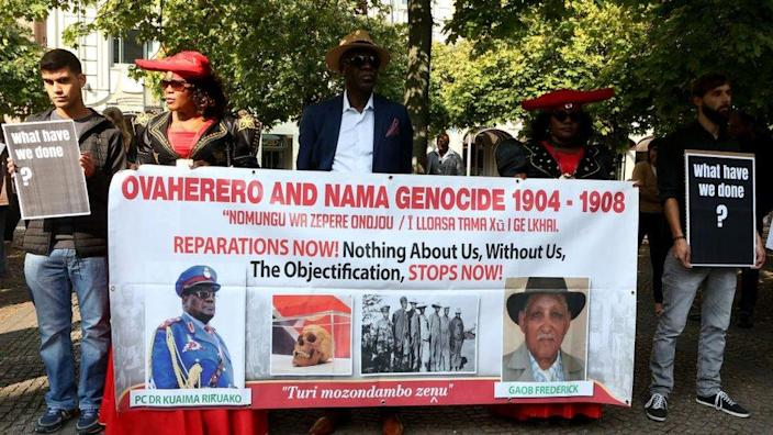 A Namibian delegation attends a ceremony for the repatriation of Namibian skulls