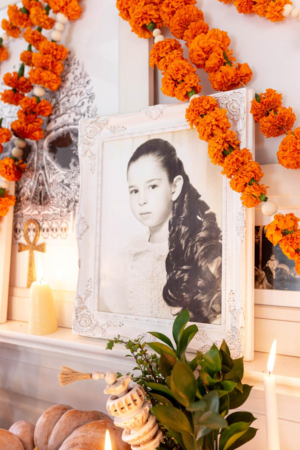 The ofrenda features a photo of Valladolid's mother, who passed away in 2008, as a young girl. (Photo: Cecilia Martin Del Campo)