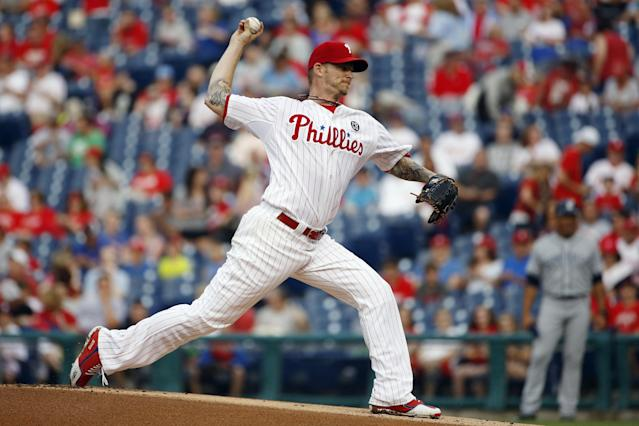 Philadelphia Phillies' A.J. Burnett pitches during the first inning of a baseball game against the San Diego Padres, Tuesday, June 10, 2014, in Philadelphia. (AP Photo/Matt Slocum)