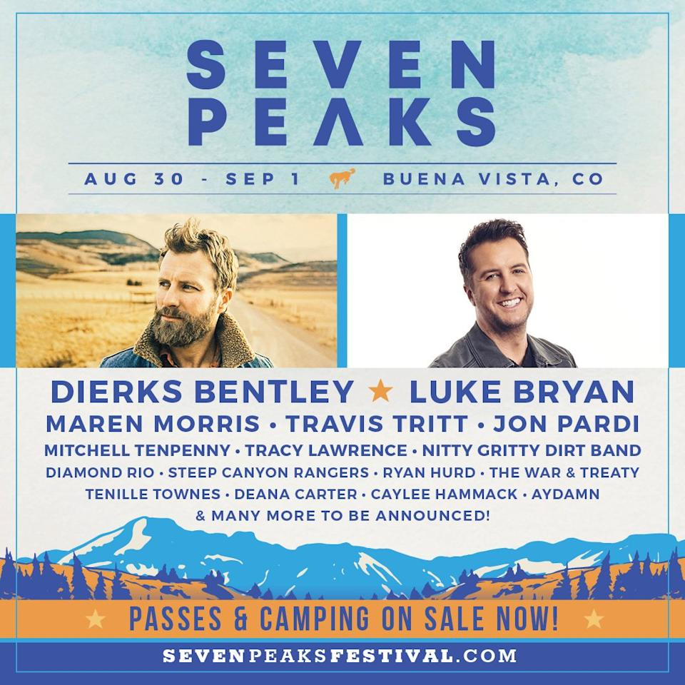 "<strong>WHERE:</strong> Buena Vista, Colorado  <strong>WHEN:</strong> Aug. 30-Sept. 1  <strong>WHO'S PLAYING:</strong> <a href=""https://people.com/tag/Dierks-Bentley/"">Dierks Bentley</a>, Luke Bryan, Maren Morris, Travis Tritt, <a href=""https://people.com/tag/Jon-Pardi/"">Jon Pardi</a>  <strong>TICKETS:</strong> <a href=""http://sevenpeaksfestival.com/festival-passes/"">Click to purchase</a>"