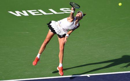 Mar 10, 2017; Indian Wells, CA, USA; Garbine Muguruza (ESP) during her match as she defeated Kirsten Flipkens (not pictured) during the BNP Paribas Open at the Indian Wells Tennis Garden. Muguruza won 6-2, 6-3. Mandatory Credit: Jayne Kamin-Oncea-USA TODAY Sports
