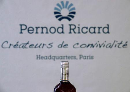 A logo is seen on a bottle of the Ricard aniseed-flavoured beverage displayed during French drinks maker Pernod Ricard news conference to announce the company annual results in Paris, France, August 29, 2018.   REUTERS/Christian Hartmann
