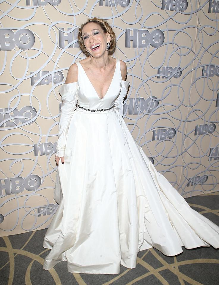 <p><strong>When: Jan. 8, 2017 </strong><br />Sarah Jessica Parker wore this plunging V-neck Vera Wang wedding dress with cutout shoulders at HBO's Official Golden Globe Awards after party — Carrie Bradshaw would be proud! (<em>Photo: Getty</em>) </p>
