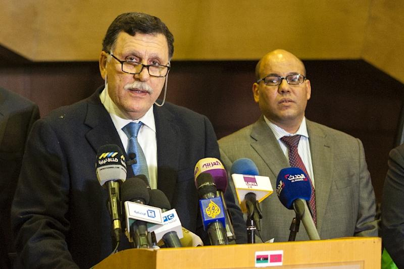 Libya's Prime Minister-designate Fayez al-Sarraj (L), seen on February 15, 2016 in the Moroccan resort of Skhirat, has been pushed to back a unity government by the UN
