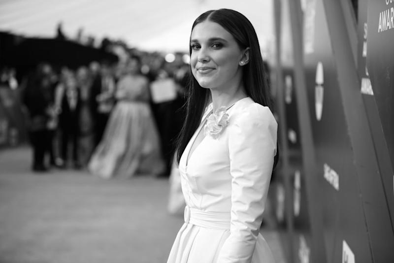 Millie Bobby Brown has called out the online abuse and sexualisation she's received. Pictured here at the Annual Screen Actors Guild Awards January 2020 (Getty)
