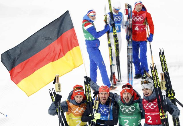 Nordic Combined Events - Pyeongchang 2018 Winter Olympics - Men's Team 4 x 5 km Final - Alpensia Cross-Country Skiing Centre - Pyeongchang, South Korea - February 22, 2018 - Eric Frenzel, Johannes Rydzek, Fabian Riessle and Vinzenz Geiger of Germany celebrate their win. REUTERS/Dominic Ebenbichler