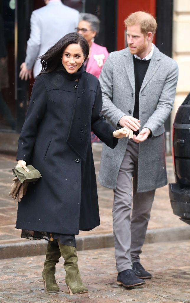 <p>During her pregnancy the for Suits star wore a '60s-era cashmere swing coat during a royal visit.</p>