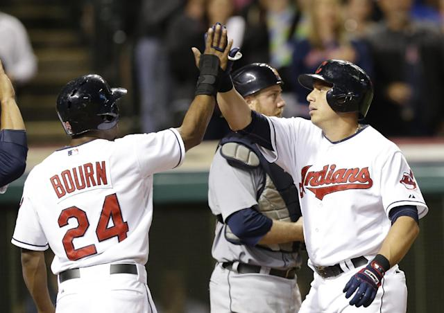 Cleveland Indians' Asdrubal Cabrera, right, is congratulated by teammate Michael Bourn after hitting a three-run home run off Detroit Tigers relief pitcher Ian Krol in the eighth inning of a baseball game on Friday, June 20, 2014, in Cleveland. Bourn and Mike Aviles also scored on the hit. (AP Photo/Tony Dejak)