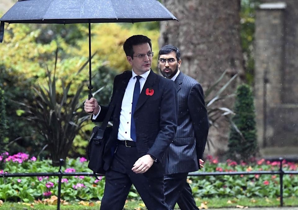 MP for Wycombe Steve Baker, left, arrives in Downing Street, for a cabinet meeting amid speculation Boris Johnson will impose a national lockdown in England next week. (Photo: PA)