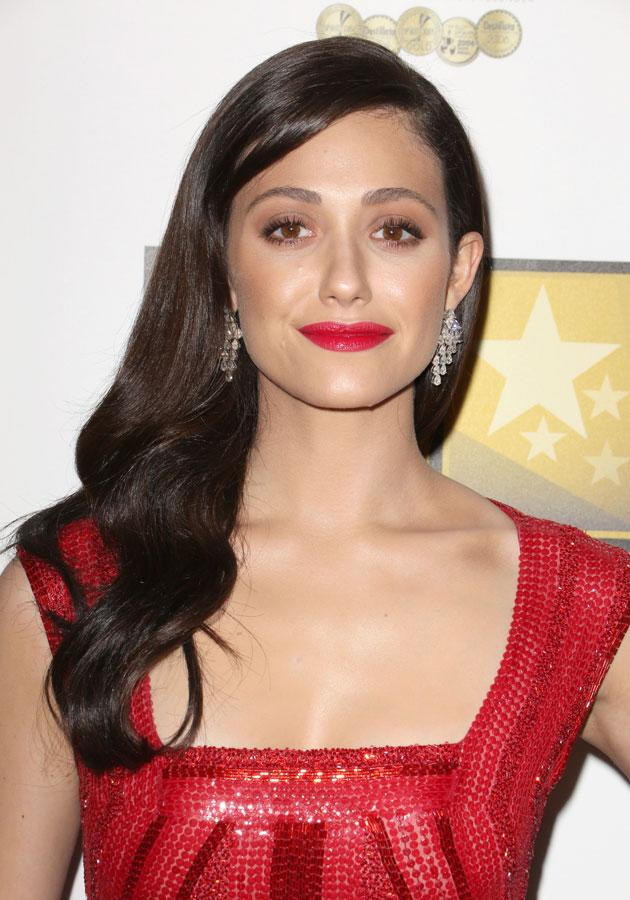 Emmy Rossum worked the red lips beauty trend at the TV Critics Choice Awards. [Rex]